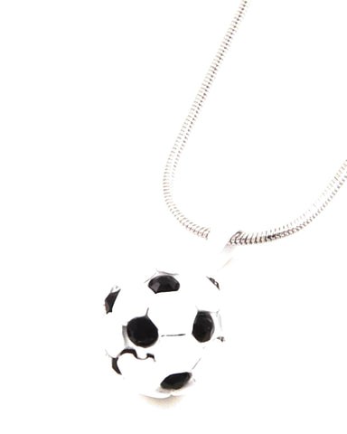 Rhodiumized / White Color Coated Metal / Soccer Ball Pendant / Necklace / AZSJCH010-WBL