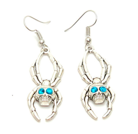 Halloween Fashion Spider Skull Dangle Earrings For Women / AZAEHA003-ASB