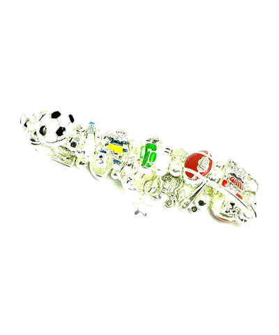 Sport Baseball : Enamel Sports Stretch Charm Bracelet For Women