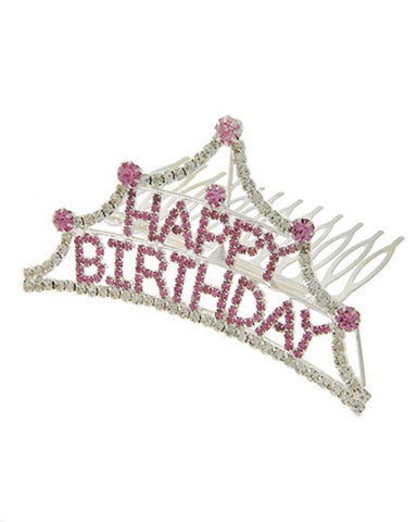 Fashion Silver Tone Pink Rhinestone Happy Birthday Small Tiara Comb