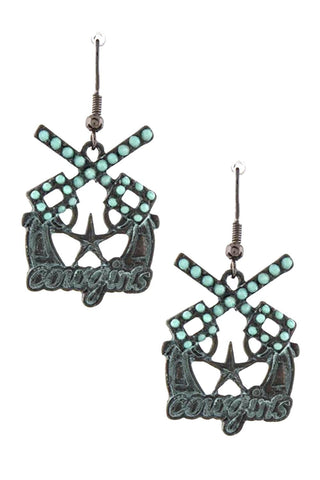 Western Fashion COW GIRLS Ornate Dangle Earrings For Women / AZERSW006-AST