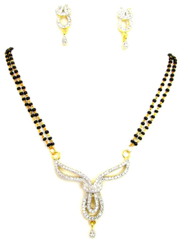Arras Creations Designer Imitation Short Mangalsutra Necklace with CZ Pendant for Women / AZMNGC122-GCL