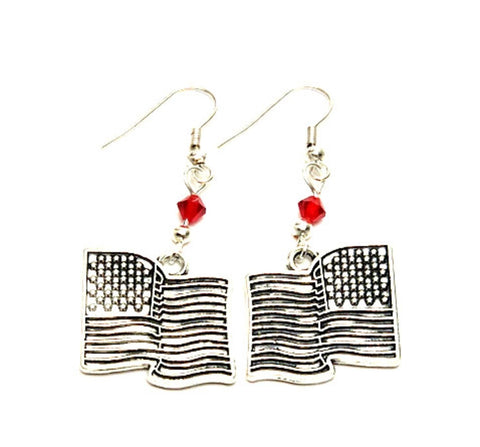 Fashion Patriotic Independence American Flag Earrings For Women / AZAEPT008-SLR