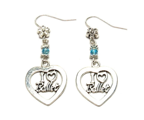 "Fashion Trendy Handmade Dance""I Love Ballet"" Dangle Earrings For Women / AZAEDM303-ASB"