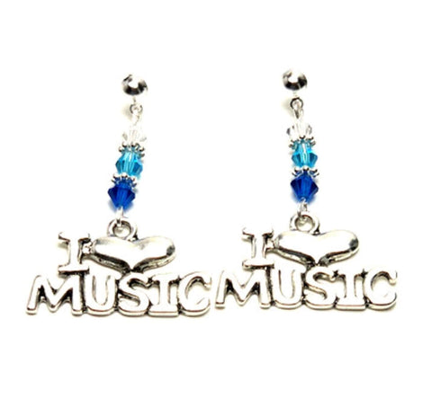"Fashion Trendy Handmade Music""I Love Music"" Dangle Earrings For Women / AZAEDM202-ASB"