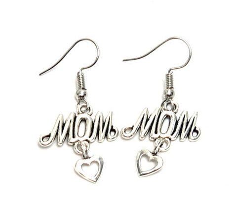 "Mother's Day ""Love Mom"" Fish Hook Earrings For Women / AZAELM201-ASL"