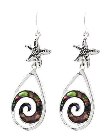 Antique Silver Green Abalone Shell Swirl W/starfish Earrings