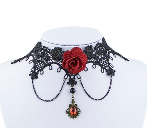 Fashion Vintage Handmade Retro Short Gothic Lace Rose Choker Necklace for Women