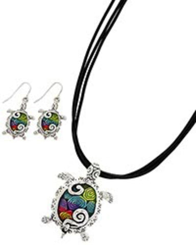 Sea Life Theme Turtle Pendant Set / AZNSSEA306-SMU