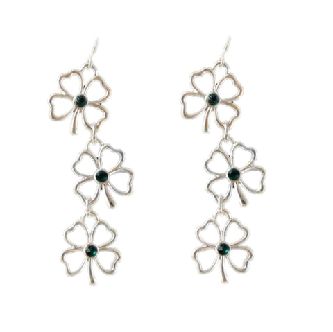 St.Patrick's Day Unique Lucky Four Leaf Clover Connect Dangle Earring / AZERCLA02-SGR
