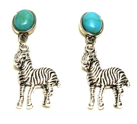 Trendy Unique Fashion Zebra Animal Dangle Earrings For Women / AZAEAL501-AST