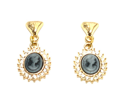 Trendy Fashion Delicate Cameo Lady Cabochon Earrings for Women / AZAELC001-GBK