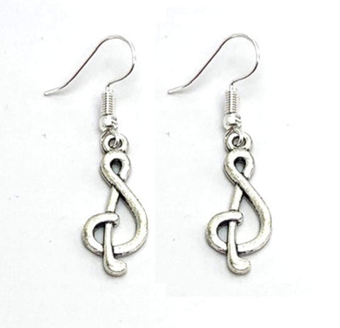 Fashion Trendy Handmade Music Treble Clef Music Note Charm Dangle Earrings For Women / AZAEDM431-ASL