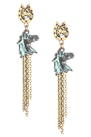 WESTERN Horse W/HorseShoe Tassel Drop Dangle Earring for Women / AZERSW073-AGP