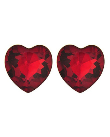 Valentines Day Red Glass Heart Button Post Earring Set / AZERFH565-SRD-HRT