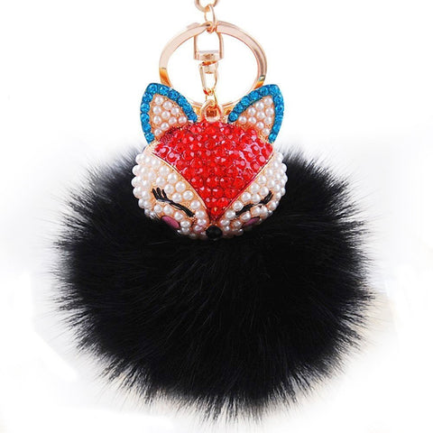 Rabbit Fur Pom Pom with Fox Charm Key Chain / Bag Charm / AZKCPCA06-GBK