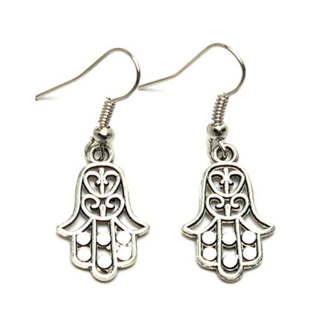 Trendy Fashion Hamsa Dangle Fish Hook For Women / AZAELJ004-ASL