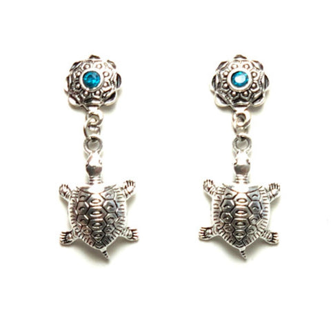 Sea Life Fashion Turtle Dangle Post Earrings for Women / AZAESL002-ASB