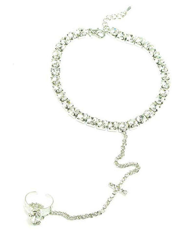 Fashion Trendy Austrian Crystal Anklet with Attached Toe Ring for Women