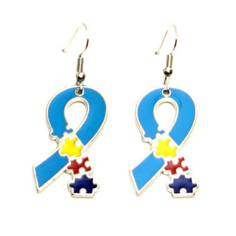 Autism Puzzle Ribbon Metal Dangle Earrings Fashion Novelty Jewelry for Women