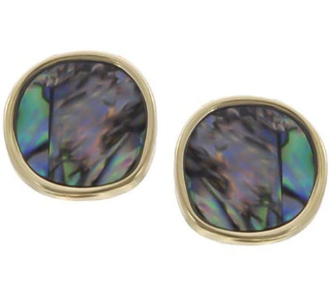 Gold Tone Multi Color Shell W/epoxy Post Button Earring / AZERAB031-GMU