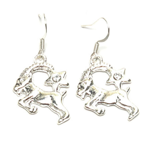 Fashion Trendy Aries - Zodiac Sign Dangle Earrings For Women / AZAZAR001-SCL