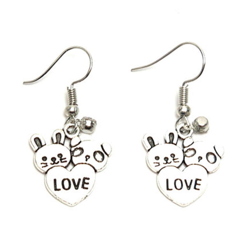 Fashion Trendy Valentine Teddy Hearts Love Dangle Earrings For Women / AZAEVH102-ASC