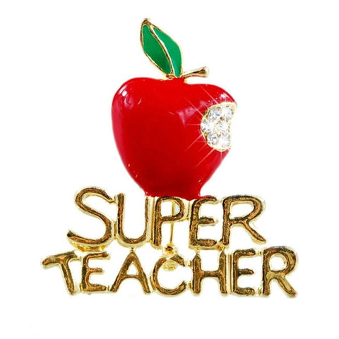 "Fashion Trendy Teacher - Teacher's Day Love""Super Teacher"" Brooch For Women / AZFJBRA07-GRD"