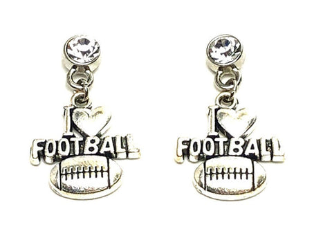 Sports Fashion Trendy I Love Foot Ball Metal Dangling Earrings For Women / AZAESPC01-ASC