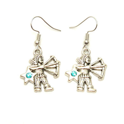 Fashion Trendy Sagittarius - Zodiac Sign Dangle Earrings For Women / AZAZSG002-AST