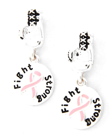 Arras Creations BCA Boxing Gloves W/Pink Ribbon Round Dangle Post Earring for Women / AZERBCA733-SPK