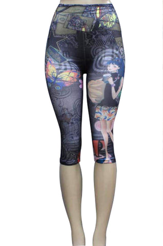 Fashion Trendy Print Short Flower/Butterfly Polyester Capri Legging for Women