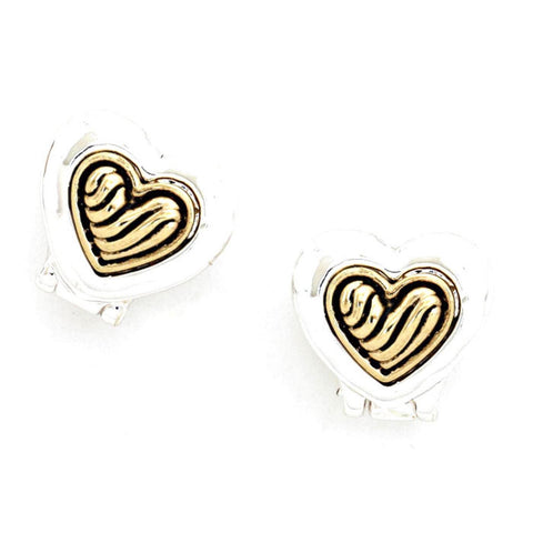 Valentine Heart / Vine Filigree Double Sided Heart Clip On Earrings / AZERCO556-ASG