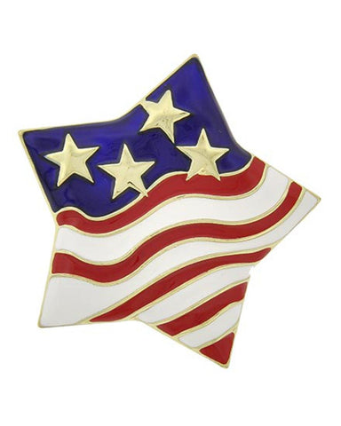 Independence Day / American Flag / Star Brooch - Brooch/pin / AZFJBR138-GRB-PAT