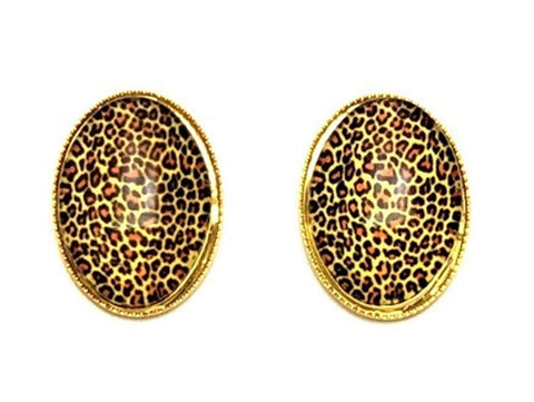 Trendy Fashion Cameo Cabochon Leopard Print Button Post Earrings for Women / AZEACPS01-GLE
