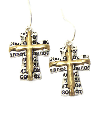 Cross Shape with MessageFish Hook Earrings / AZERCR011-SGL