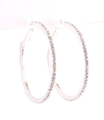 Hoop Earrings with Rhinestones / AZERFH064-SCL