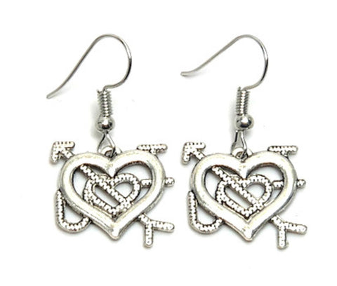 Fashion Trendy Valentine Cupid Hearts Love Dangle Earrings For Women / AZAEVH102-ASL