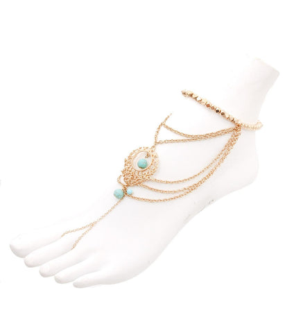 Fashion Trendy Chain Layered Stretch Foot Chain Anklet For Women