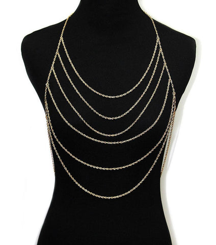 Fashion Trendy Body Chains, Urban Glam, Chain, Metal, Multi Layered For Women / AZFJBC030-GLD