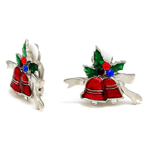 Christmas : Crystal Accented Enamel Christmas Bell Clip on Earrings / AZERCO082-SMU-CHR