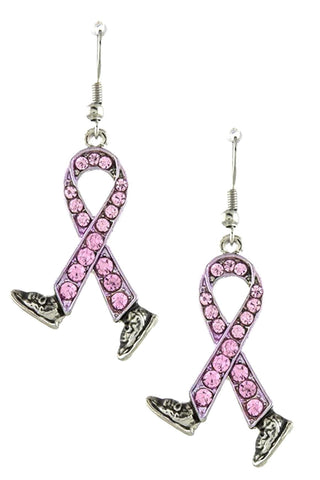 Arras Creations Crystal Lined Bow with Shoes Accent Earrings - Breast Cancer Awareness for Women / AZERBCA019-SPK