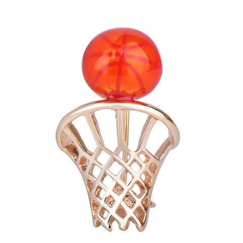 Arras Creations Sports Earring : Fashion Basketball Net Backboard Shape Brooch-Pin for Women or Men / AZFJBRA12-GOR