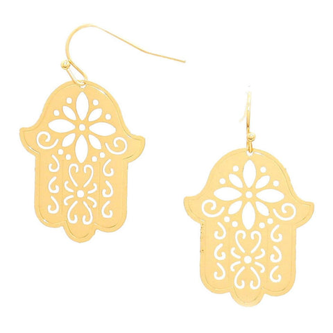 Metal Hamsa Hand Cutout Disc Drop Earrings / AZERFH369-GLD-HAM