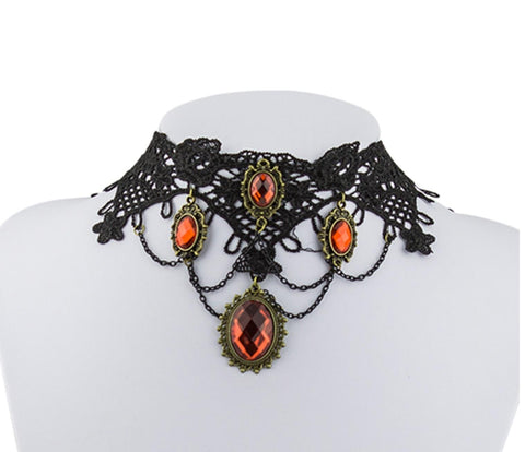 Arras Creations Vintage Handmade Retro Short Gothic Lace Choker Necklace for Women / AZVGNEA02-1RD