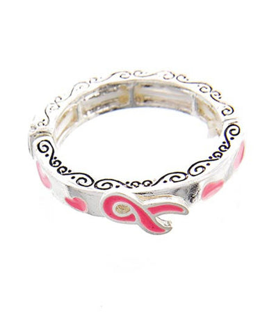 Breast Cancer Awareness - Filigree Message Pink Ribbon Stretch Ring For Women