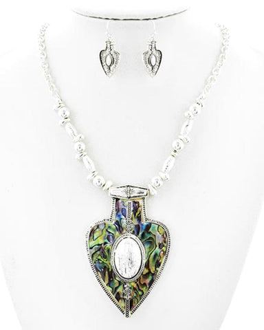 Antique Silver Green Abalone Epoxy Filigree Pendant Set / AZASNS001-SMU