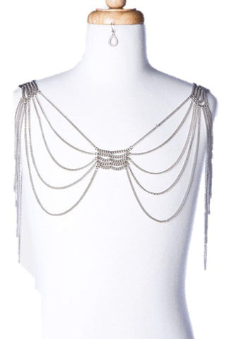 Fashion Trendy Draping Shoulder Chain Harness - Silver Tone for Women / AZFJBC001-DSL
