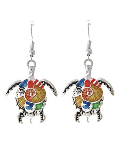 SeaLife Turtle Multi Color Epoxy Fish Hook Earrings / AZERSEA023-AMU