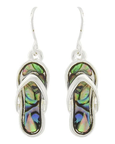 Antique Silver Tone Flip Flop Dangle Earring / AZERFF109-SMU